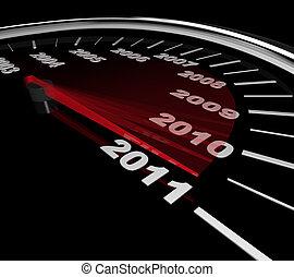 osiąganie, szybkościomierz, -, rok, nowy, 2011