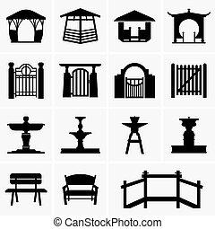 osie maszyny, wrota, fontanny, ławy