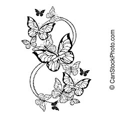 osiem, motyle, kontur