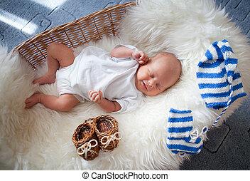 osier, dormir, nouveau né, panier, bébé, Peau mouton,...