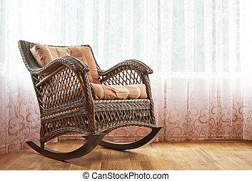 osier, fauteuil bascule, composition