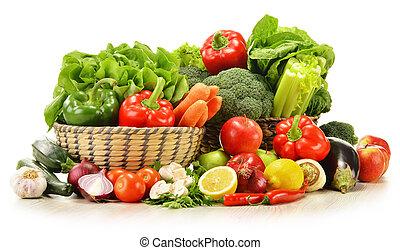 osier, légumes, isolé, cru, panier, blanc