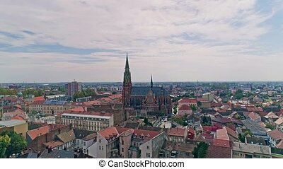 Osijek city aerial - Aerial ascending view of the Osijek...