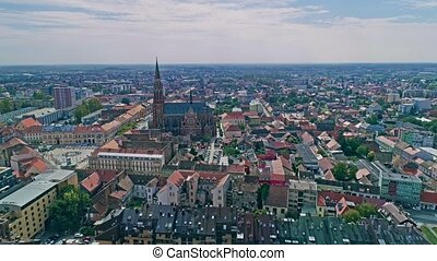 Osijek city aerial - Aerial view of the Osijek city center...