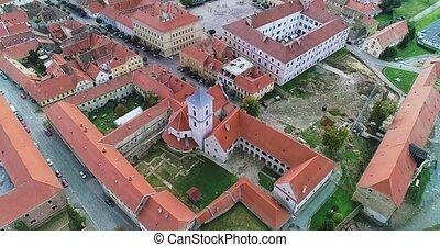 Osijek city aerial - Aerial view of the Osijek city center...