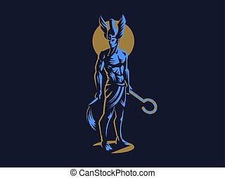 osiris., 神, emblem., ベクトル, エジプト人