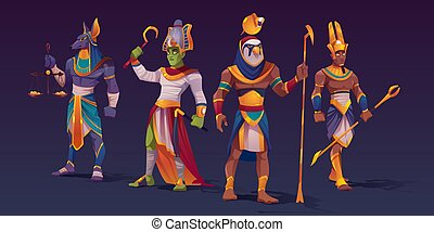 osiris, anubis, 神, 特徴, エジプト人, ra, amon