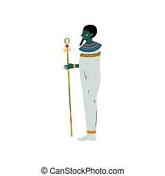 Osisris God, Symbol of Ancient Egyptian Culture Vector Illustration