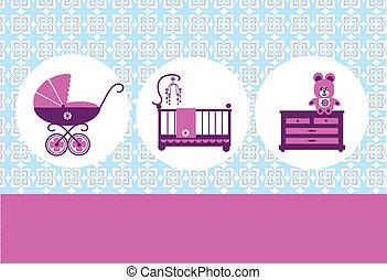 osito de peluche, bebé, cradl, cómoda, y, bebé, cochecito de niño, tarjeta, diseño