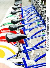 oslo, bicycles, strada, parcheggiato, pubblico