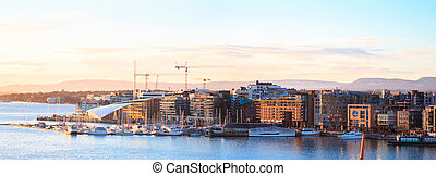 Panorama aerial cityscape of Oslo harbour Sunset Norway