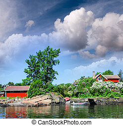 Oslo, Norway. Colourful homes over Oslofjord on a beautiful summer day.