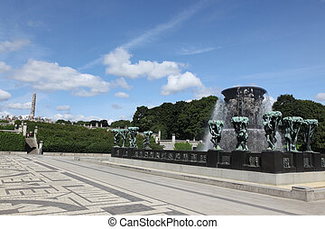 OSLO, NORWAY- JULE 26: Statues in Vigeland park in Oslo,...