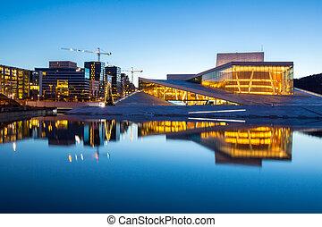 Oslo Opera House shine at dusk, morning twilight, Norway