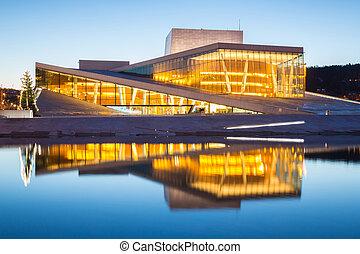 Oslo Opera House Norway - Oslo Opera House shine at dusk,...
