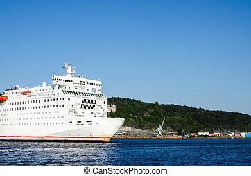 oslo, salida, transbordador, pasajero