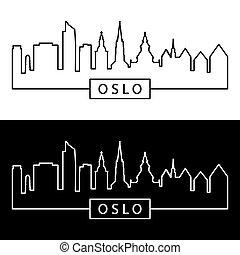 Oslo skyline. Linear style.