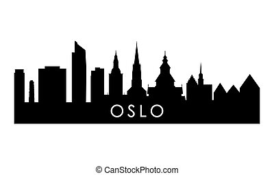 Oslo skyline silhouette. Black Oslo city design isolated on white background.