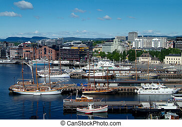 Oslo, the City Hall quay - Boats at the quay in front of the...