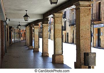 osma, 都市, arcaded, de, 通り, burgo, スペイン, 典型的