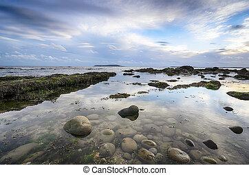 The beach at Osmington Mills near Weymouth in Dorset with the Isle of Portland on the horizon
