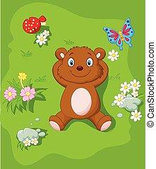 oso, abajo, th, caricatura, acostado, feliz