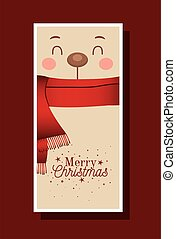 oso, alegre, letras, bufanda, navidad
