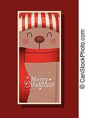oso, alegre, sombrero, letras, bufanda, navidad