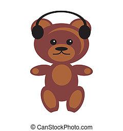 oso, audífonos, teddy