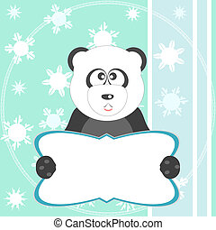 oso de oso panda, suave, verde, tarjeta de felicitación