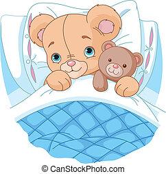 oso del bebé, lindo, cama