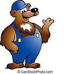 oso, en, azul, overol