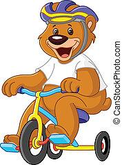 oso, en, triciclos
