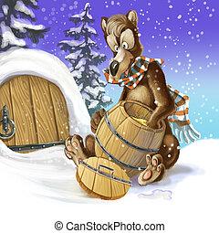 oso, medio, comer, invierno, despertado, empate, raster, caricatura, barrel., miel