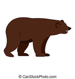 Oso pardo, aislado, oso, icono