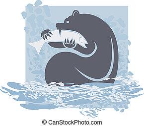 oso pardo, gracioso, salmón