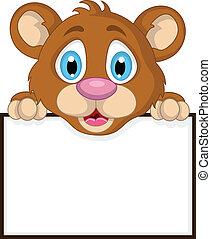 oso pequeño, lindo, marrón, caricatura