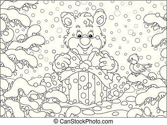 oso pequeño, regalo de navidad