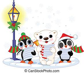 oso, polar, navidad, %u2013, carolers