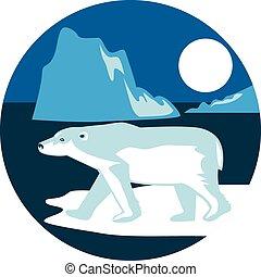 oso, retro, polar, círculo, iceberg