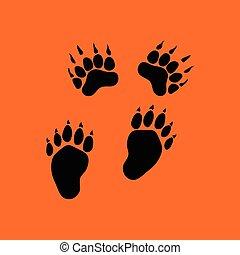 oso, senderos, icono
