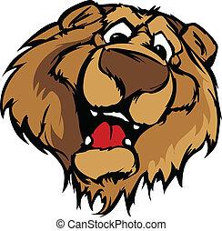 oso, sonriente, mascota, vector, caricatura