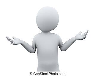 osoba, 3d, dont, gest, wiedzieć
