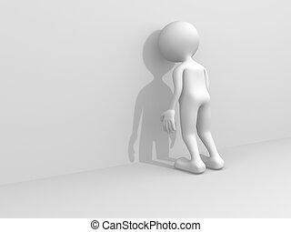 osoba, 3d, -, render, smutny