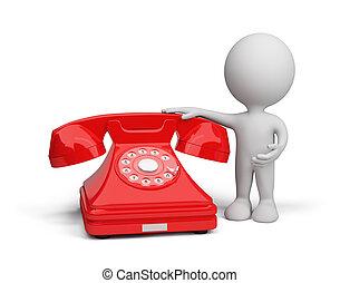 osoba, 3d, telefon