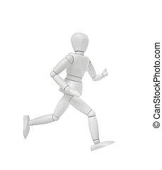osoba bieg, biały, odizolowany