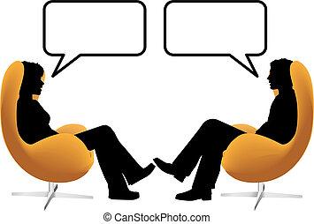 osoba eny, dvojice, sedět, hovor, do, vejce, předsednictví