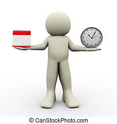 osoba, gładzić, zegar