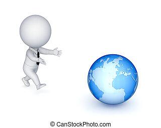 osoba, globe., běh, big, 3, malý