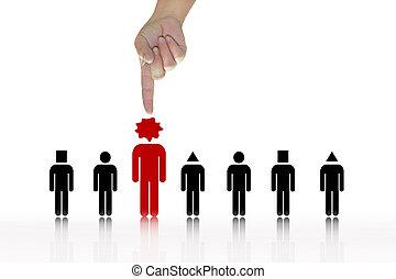 osoba, grupa, czerwony, wybierając